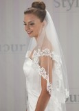 Bridal Veil Linzi Jay LA518 Lace Diamante Edge