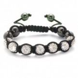 Crystal Shamballa Style Bracelet Silver