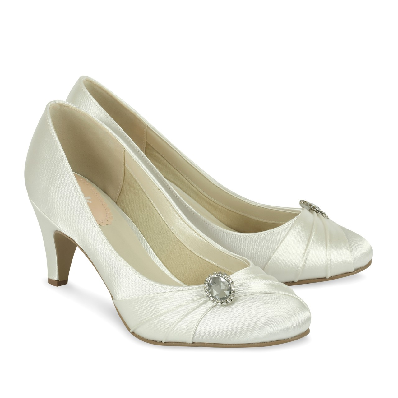 ivory satin wedding shoes paradox pink harmony