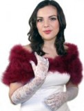 Mid Length Lace Gloves Ivory BWG027