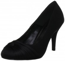 FLR132 Black Satin Occasion Court Shoes