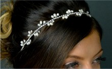 Freshwater Pearl / Crystal Hairband with Black Elastic Band.