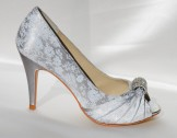 Pale Grey Printed Satin Shoes Fabia