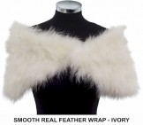 Smooth Real Feather Wrap Ivory