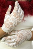 Short Length Lace Gloves Ivory BWG025