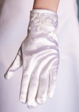 Linzi Jay Mona Communion or Bridesmaid White Satin Beaded Wrist Gloves