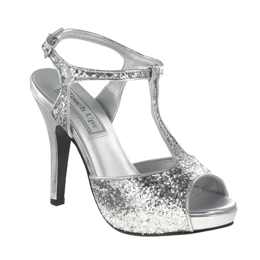 touch ups zoey 459 silver glitter bridesmaid or prom shoes
