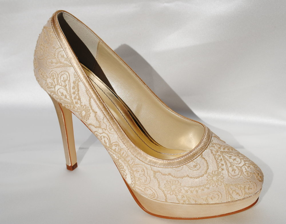 Champagne Lace Occasion Shoes