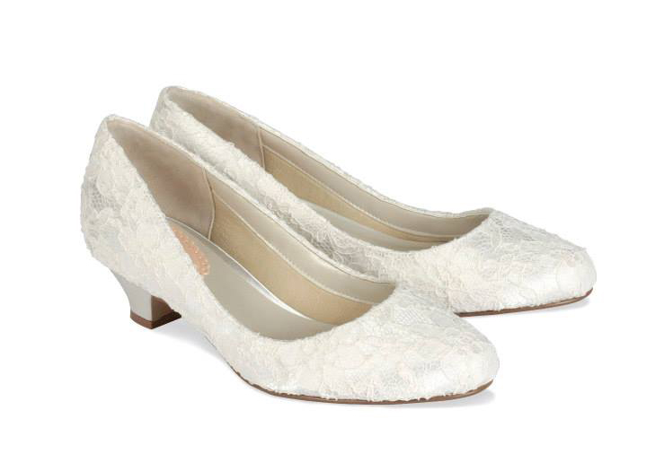 Pink Wedding Shoes Low Heel: Paradox London Pink Bon Bon Low Heel Lace Wedding Shoes
