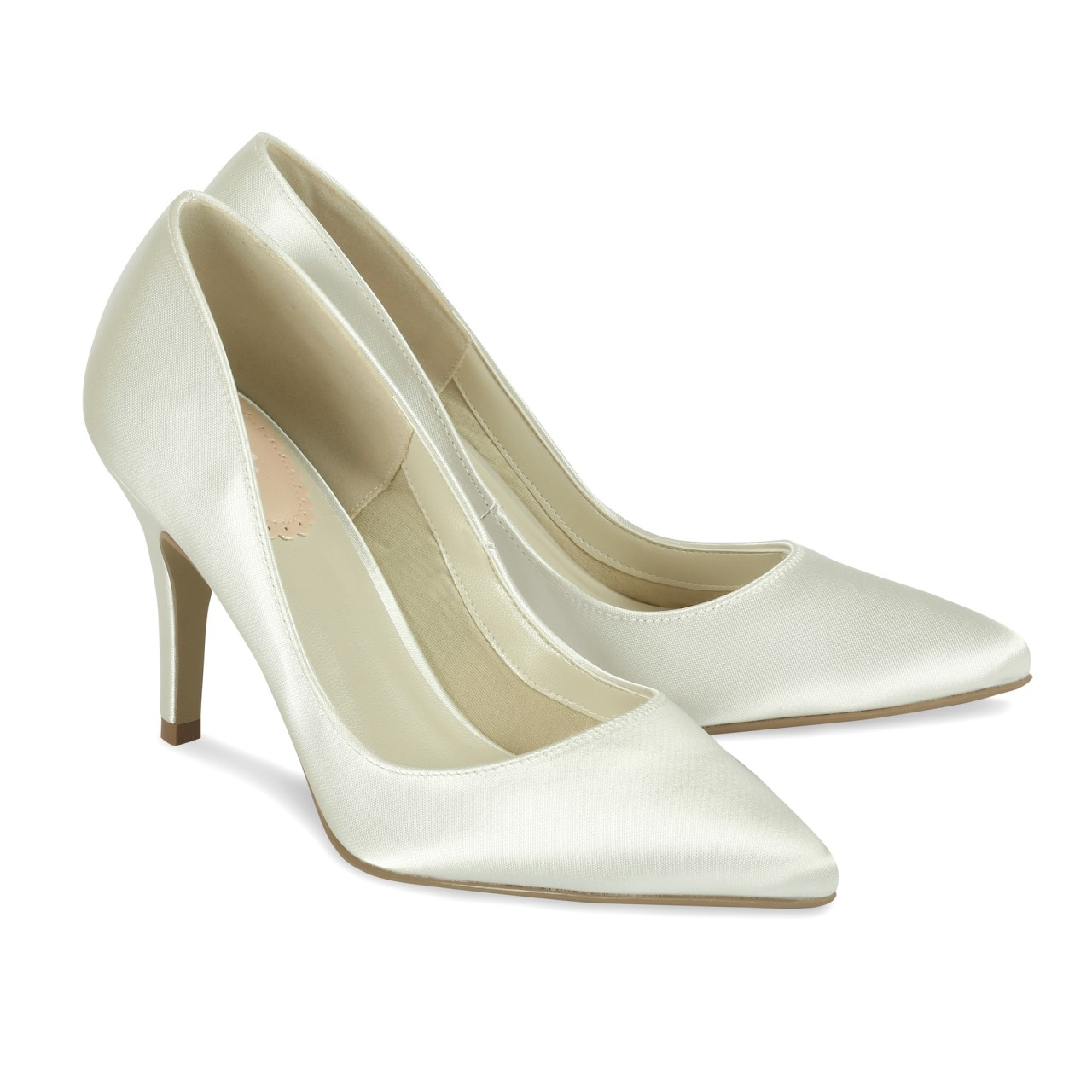 ivory satin wedding shoes flush paradox pink