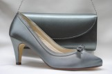 Grey Satin Shoes with Celina Bag