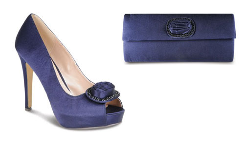Lunar Shoes FLR115 Navy Satin with Matching Handbag SAVE with set
