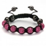 Crystal Shamballa Style Bracelet Hot Pink
