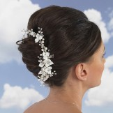 Pearl and Diamante Flower Bridal Hair Comb Linzi Jay LP678