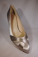 Silver grey satin cross over design shoes