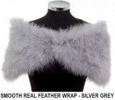 Smooth Real Feather Wrap Silver Grey