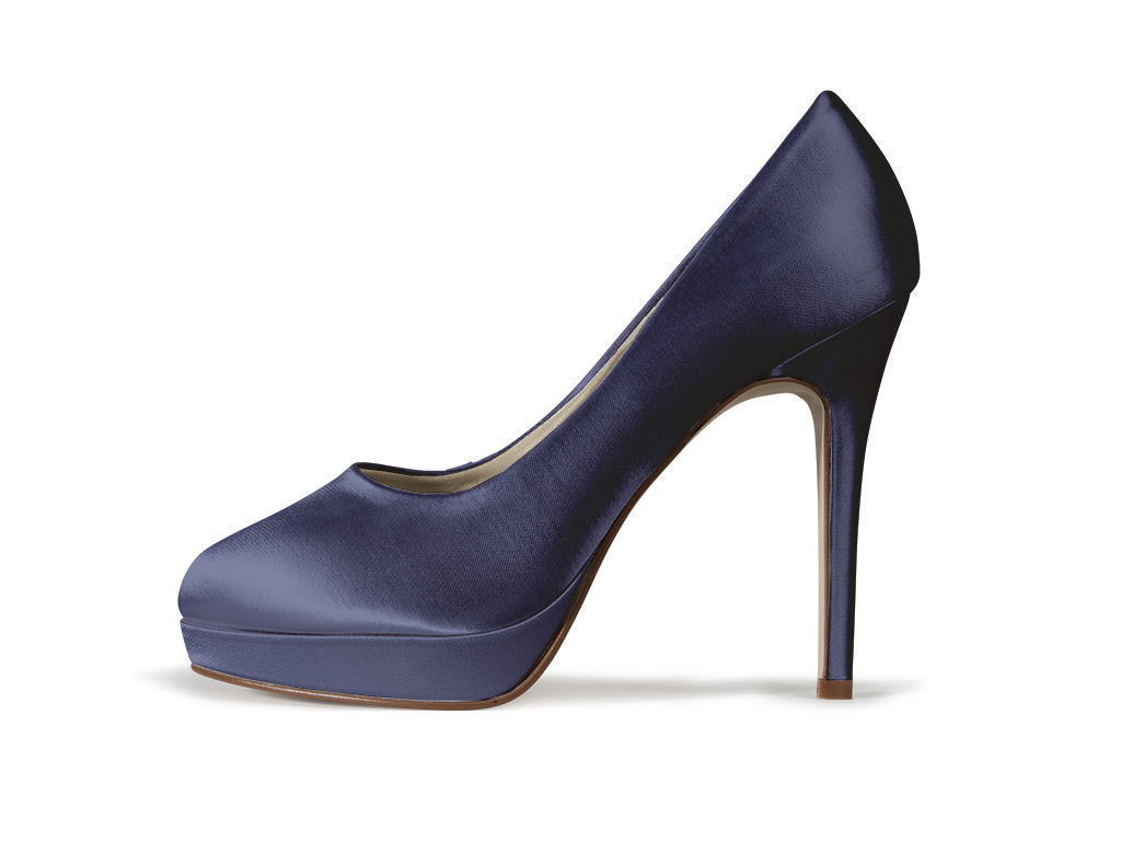 high heel navy satin shoes eliza from the wedding boutique