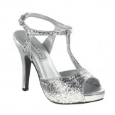 Touch Ups ZOEY 459 Silver Glitter Bridesmaid or Party Shoes NEW