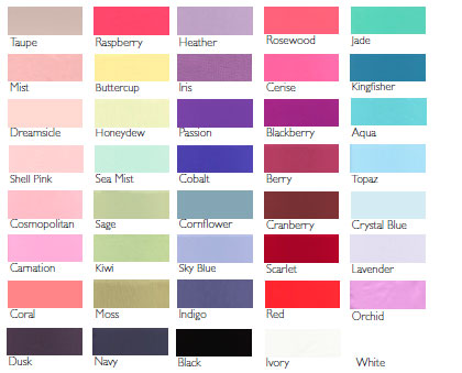 Color Chart For Bridesmaid Dresses