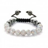  Crystal Shamballa Style Stringless Bracelet Silver