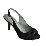 Faye by Dyeables Black Satin Wedding or Evening Shoes