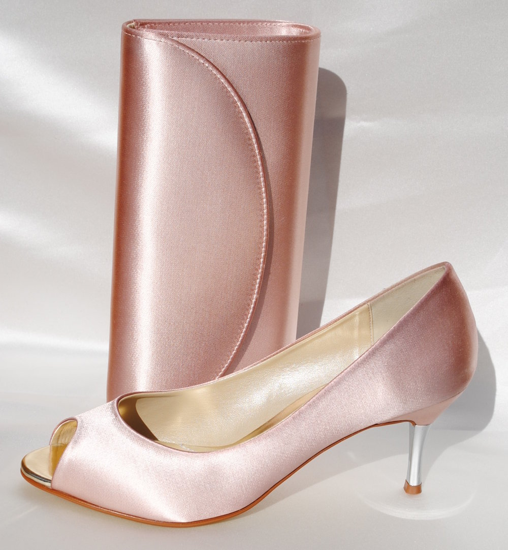 4dded18fe542 Taupe Satin Shoes Saffron with Matching Handbag - The Wedding Boutique