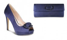 Lunar Shoes FLR115 Navy Satin with Matching Handbag