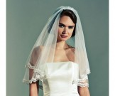Joyce Jackson Ivory Wedding Veil with Lace Edge Castello