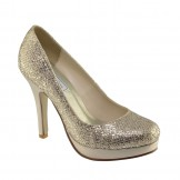 CANDICE 397 by Touch Ups Champagne Glitter Bridesmaid or Party Shoes NEW
