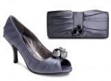 Lunar Shoes FLV216 Dark Grey Satin and Matching Bag