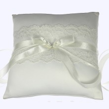 White Satin and Lace 19cm Ring Cushion