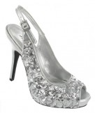 Anne Michelle Shoes L2221 Silver Sequin Slingback Prom or Wedding Shoes