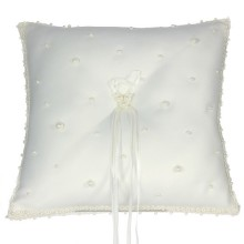 White Satin and Pearl 19cm Ring Cushion