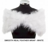 Smooth Real Feather Wrap White