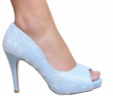 Perfect Bridal Shoes Celia French Blue Lace Wedding Shoes