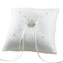 Ivory and Lace ring Cushion 19cm
