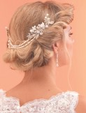 Arianna Pearl and Crystal Bridal Hair Comb with Drapes AR517
