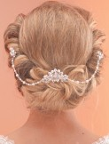 Arianna Pearl and Crystal Bridal Hair Comb with Drapes AR520