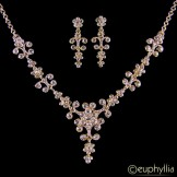 Sophia Crystal Wedding Necklace Set Gold e32089sg